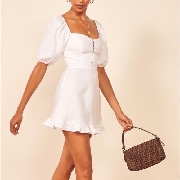 Reformation Seattle Puff Sleeve Linen Dress